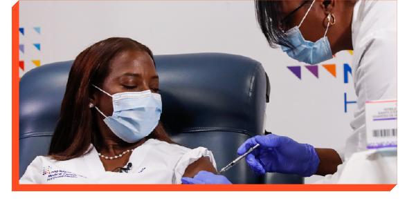 Person getting the COVID-19 vaccine