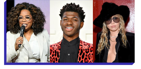 Oprah Winfrey, Lil Nas X, and Miley Cyrus