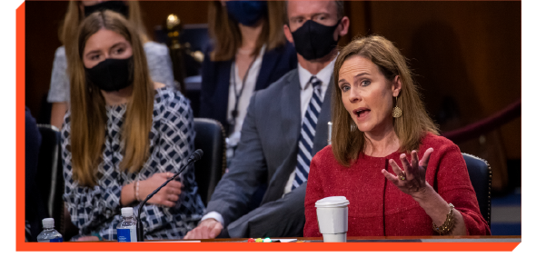 Judge Amy Coney Barrett speaking at her confirmation hearing