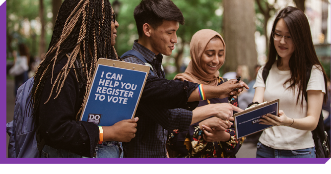 Young people registering others to vote