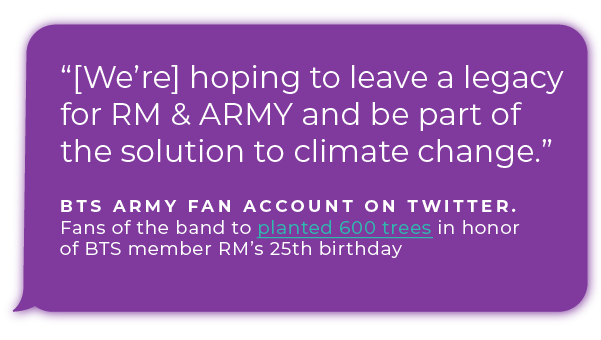 """[We're] hoping to leave a legacy for RM & ARMY and be part of the solution to climate change."" - BTS ARMY fan account on Twitter. Fans of the band to planted 600 trees in honor of BTS member RM's 25th birthday."