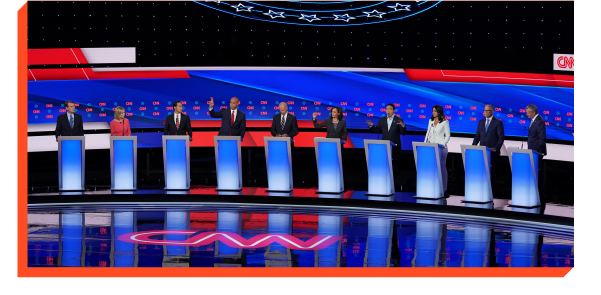 10 democratic debate candidates on stage
