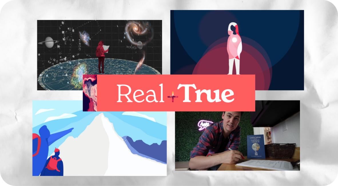 Real + True logo over four screenshots of video